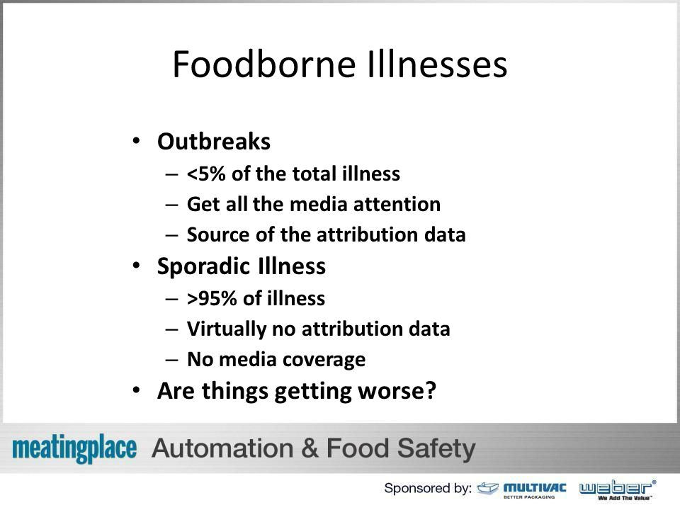 Foodborne Illnesses Outbreaks – <5% of the total illness – Get all the media attention – Source of the attribution data Sporadic Illness – >95% of illness – Virtually no attribution data – No media coverage Are things getting worse