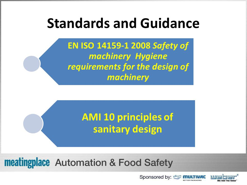 Standards and Guidance EN ISO 14159-1 2008 Safety of machinery Hygiene requirements for the design of machinery AMI 10 principles of sanitary design