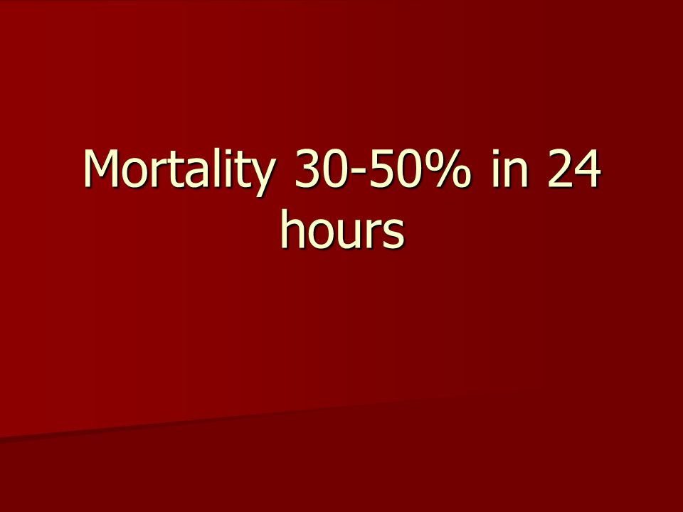 Mortality 30-50% in 24 hours