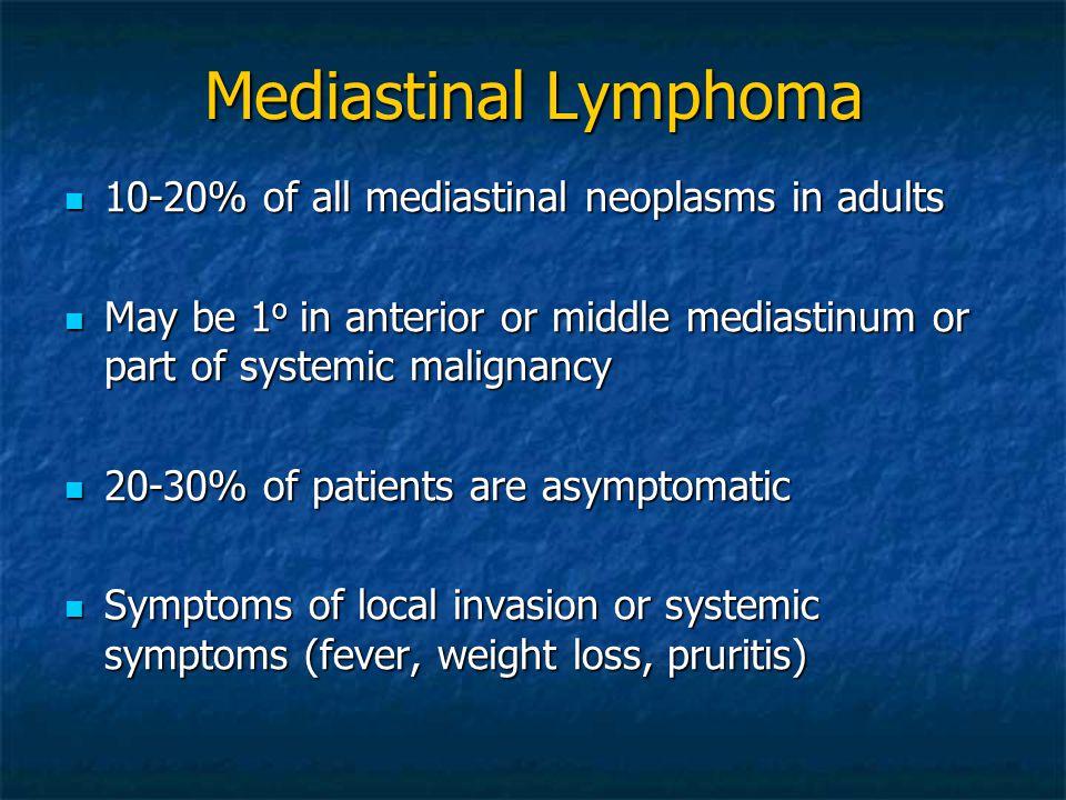 Mediastinal Lymphoma 10-20% of all mediastinal neoplasms in adults 10-20% of all mediastinal neoplasms in adults May be 1 o in anterior or middle medi