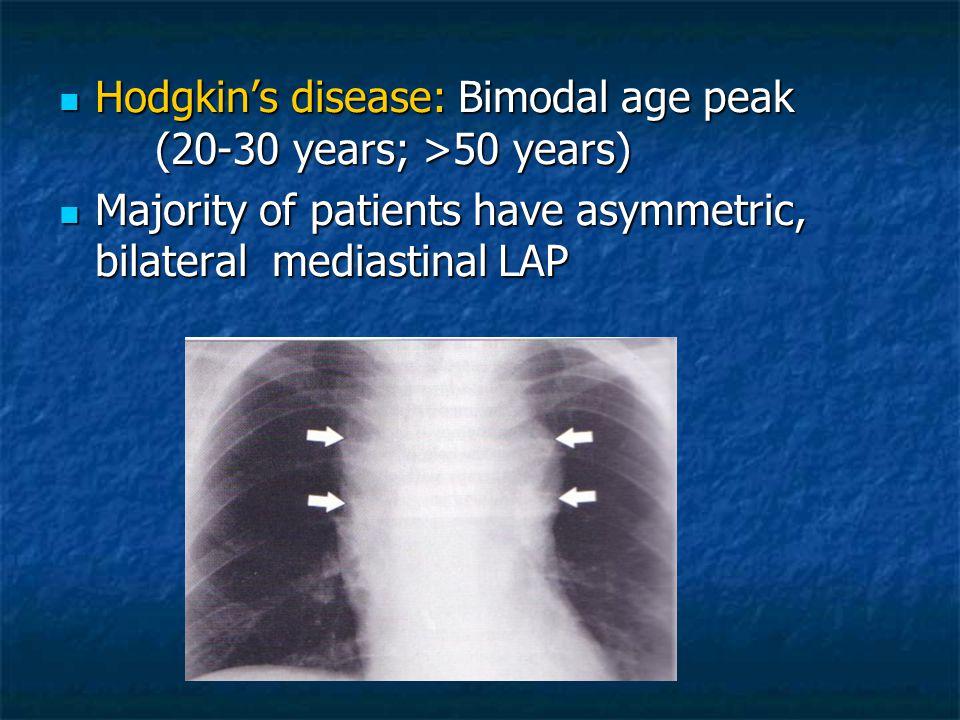 Hodgkin's disease: Bimodal age peak (20-30 years; >50 years) Hodgkin's disease: Bimodal age peak (20-30 years; >50 years) Majority of patients have as
