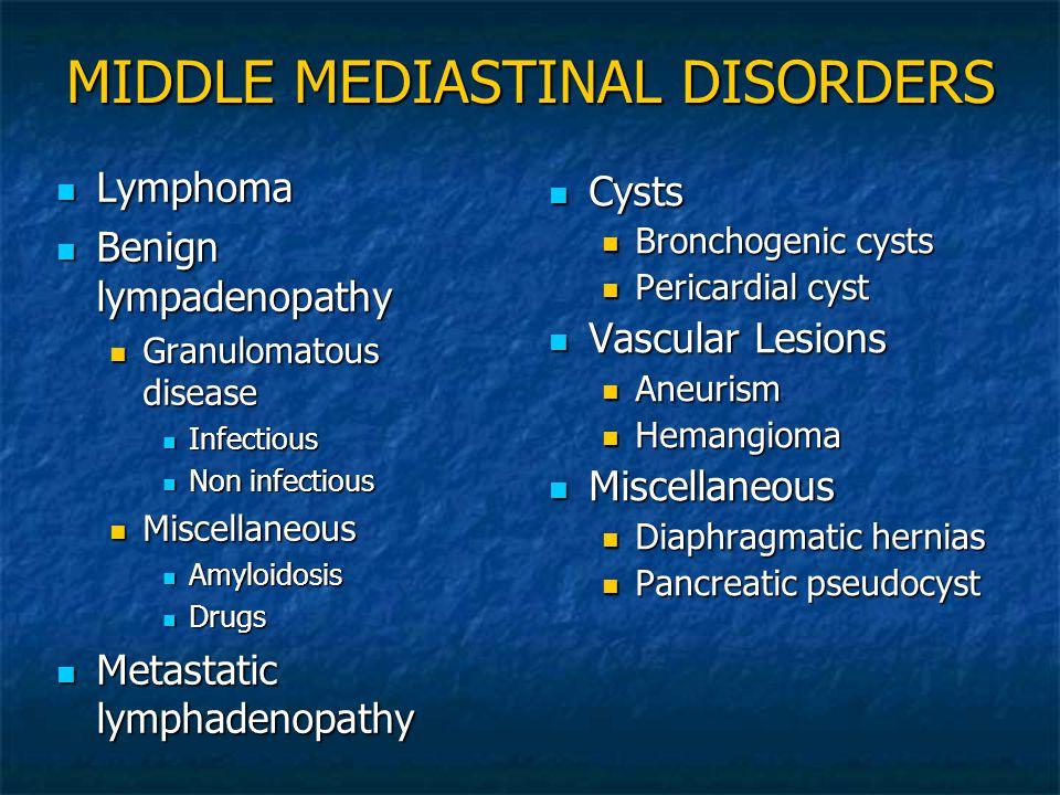 MIDDLE MEDIASTINAL DISORDERS Lymphoma Lymphoma Benign lympadenopathy Benign lympadenopathy Granulomatous disease Granulomatous disease Infectious Infe