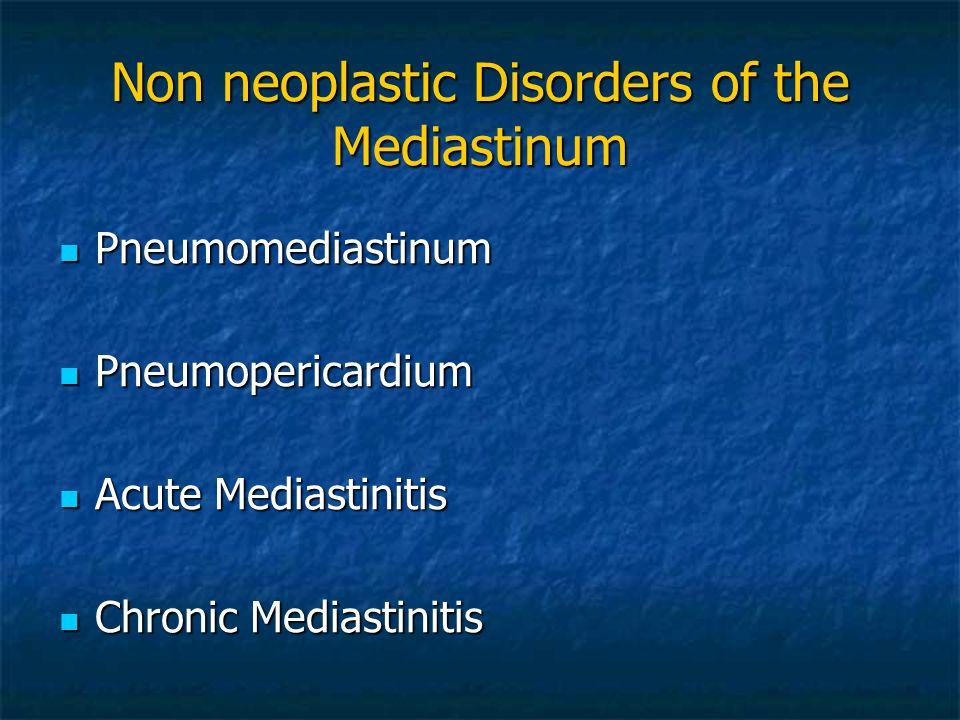 Non neoplastic Disorders of the Mediastinum Pneumomediastinum Pneumomediastinum Pneumopericardium Pneumopericardium Acute Mediastinitis Acute Mediasti