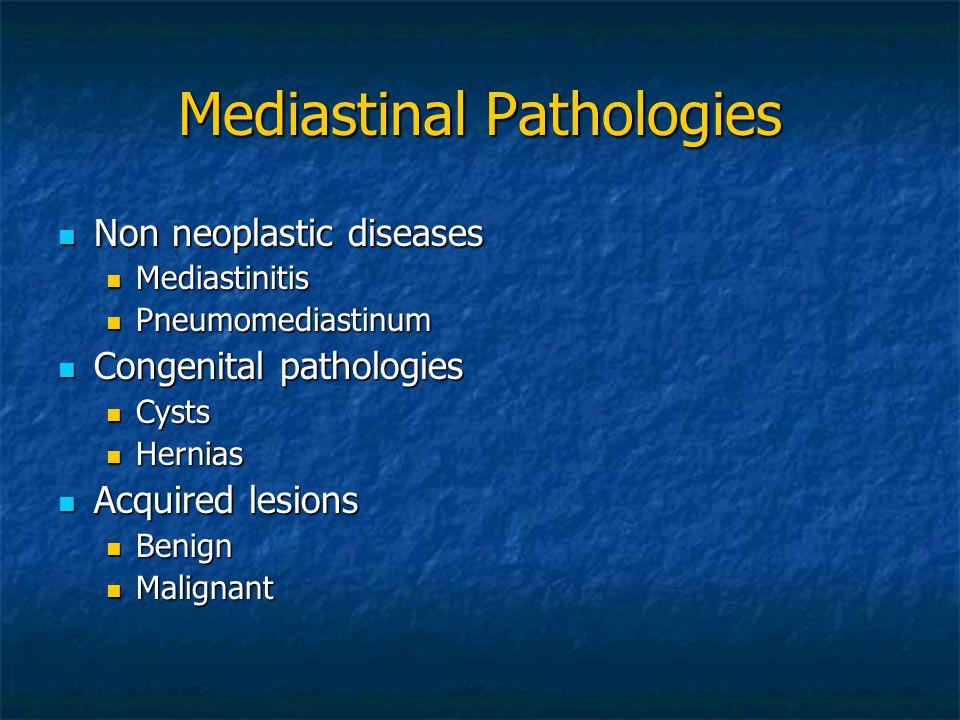 Mediastinal Pathologies Non neoplastic diseases Non neoplastic diseases Mediastinitis Mediastinitis Pneumomediastinum Pneumomediastinum Congenital pat