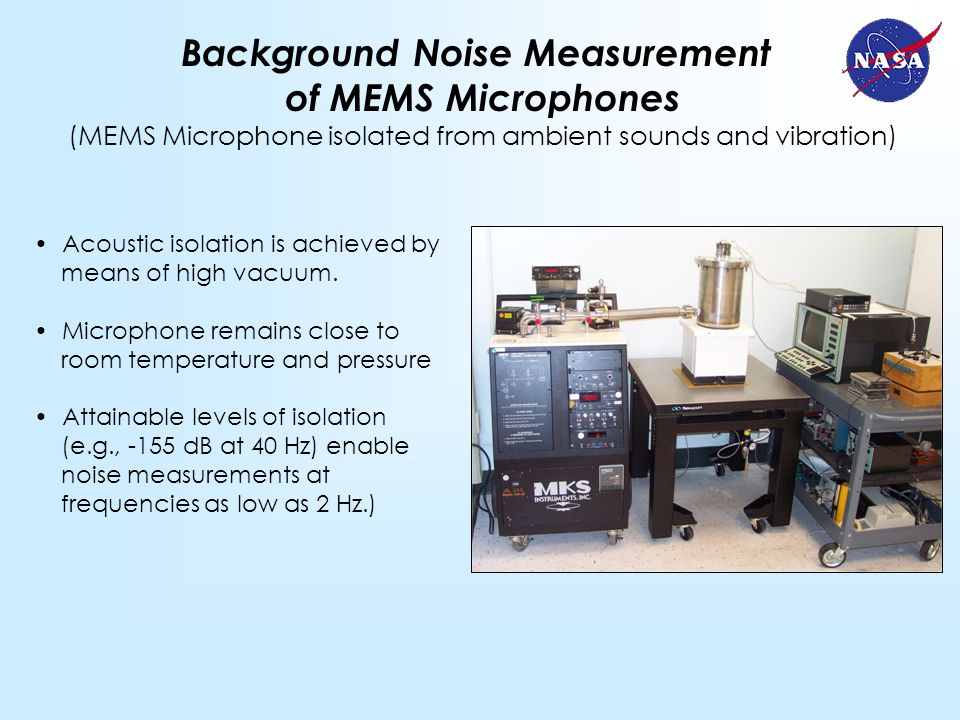 Background Noise Measurement of MEMS Microphones (MEMS Microphone isolated from ambient sounds and vibration) Acoustic isolation is achieved by means