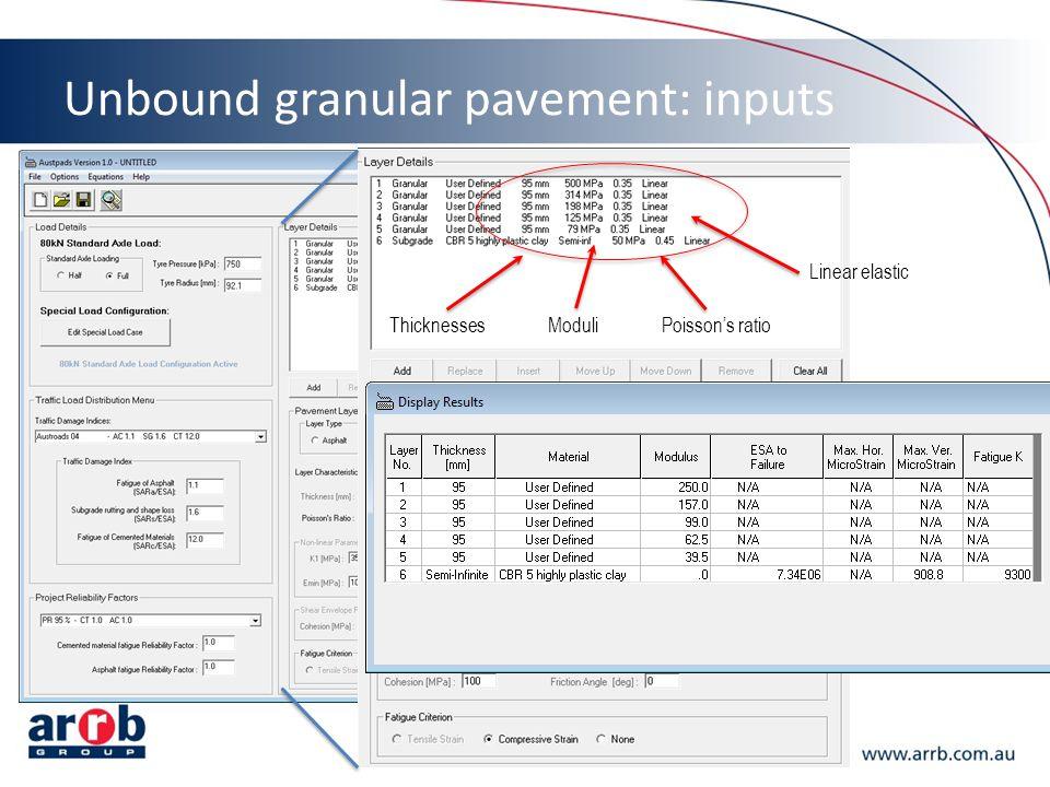 Unbound granular pavement: inputs ThicknessesModuliPoisson's ratio Linear elastic
