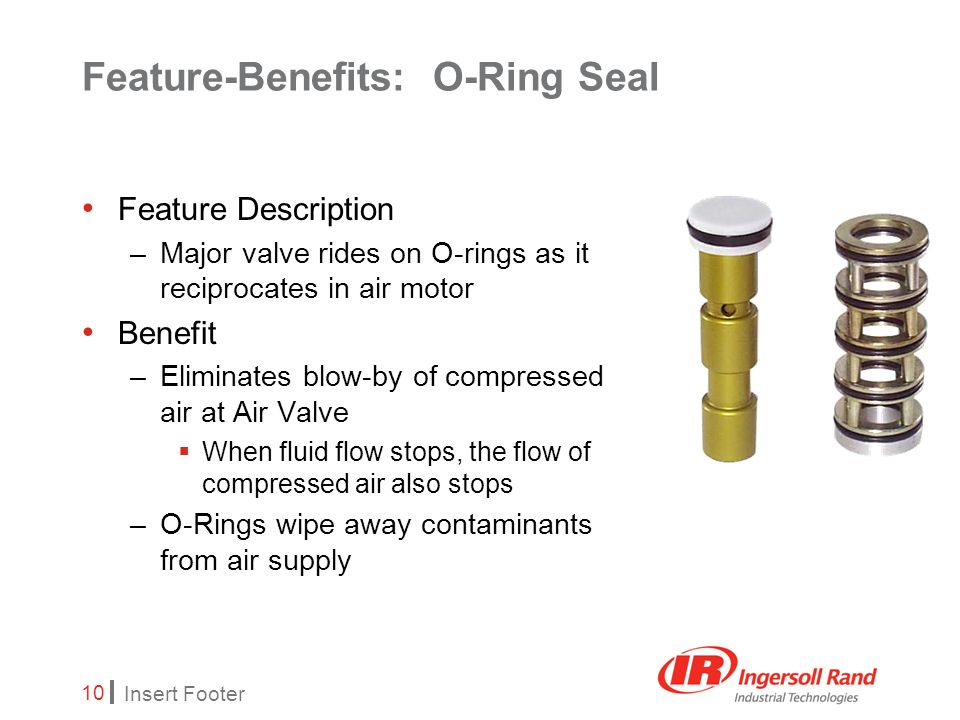 Insert Footer 10 Feature-Benefits: O-Ring Seal Feature Description –Major valve rides on O-rings as it reciprocates in air motor Benefit –Eliminates blow-by of compressed air at Air Valve  When fluid flow stops, the flow of compressed air also stops –O-Rings wipe away contaminants from air supply