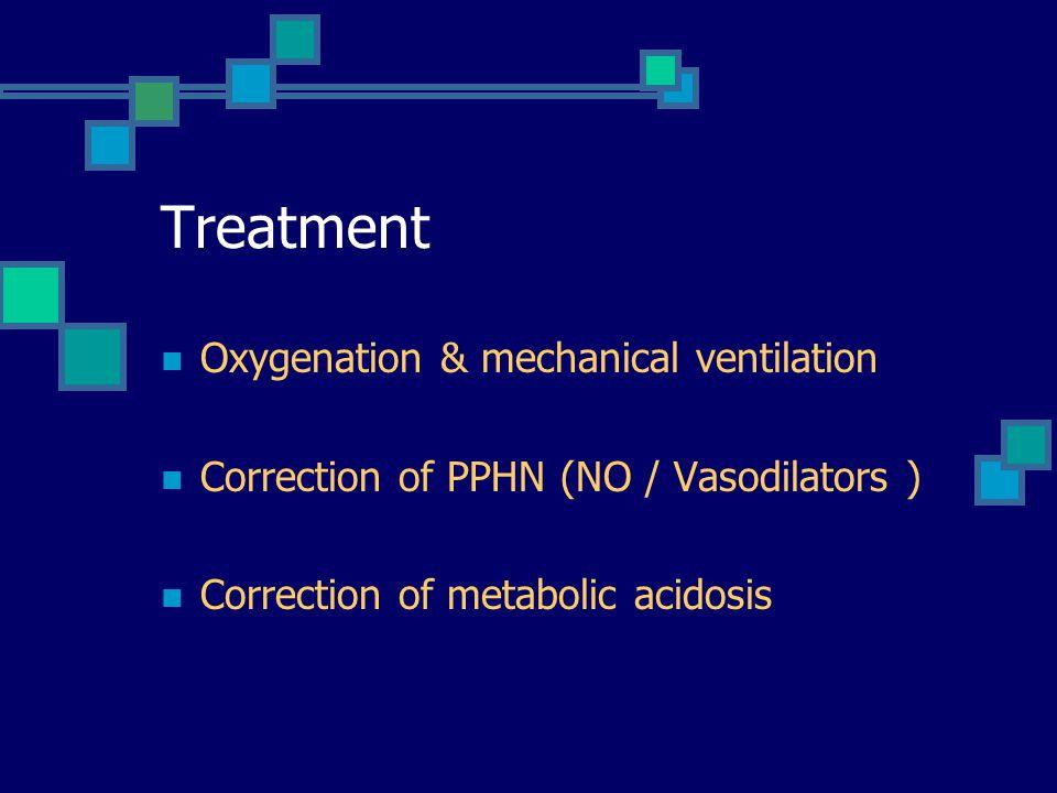 Treatment Oxygenation & mechanical ventilation Correction of PPHN (NO / Vasodilators ) Correction of metabolic acidosis