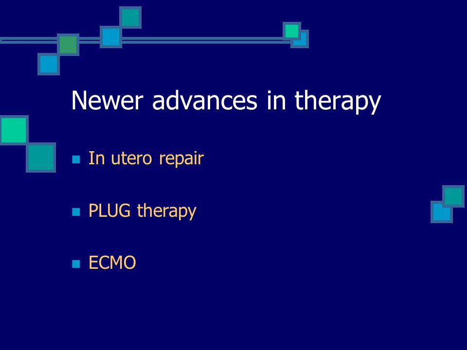 Newer advances in therapy In utero repair PLUG therapy ECMO