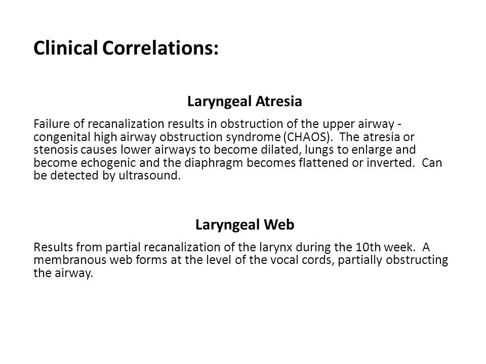 Clinical Correlations: Laryngeal Atresia Failure of recanalization results in obstruction of the upper airway - congenital high airway obstruction syn