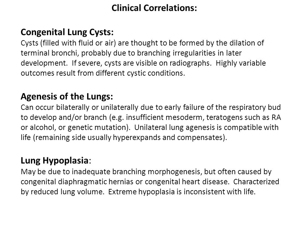 Clinical Correlations: Congenital Lung Cysts: Cysts (filled with fluid or air) are thought to be formed by the dilation of terminal bronchi, probably