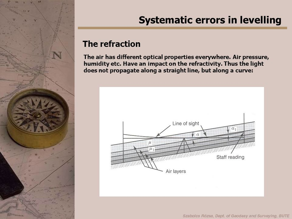 Systematic errors in levelling The refraction The air has different optical properties everywhere.