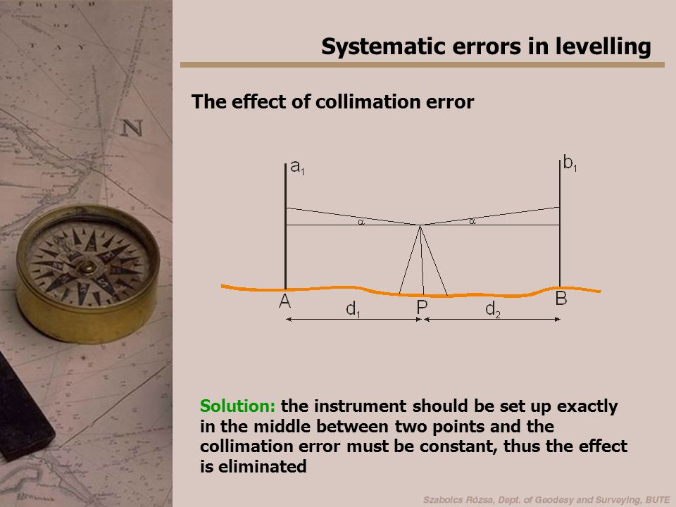 Systematic errors in levelling The effect of collimation error Solution: the instrument should be set up exactly in the middle between two points and