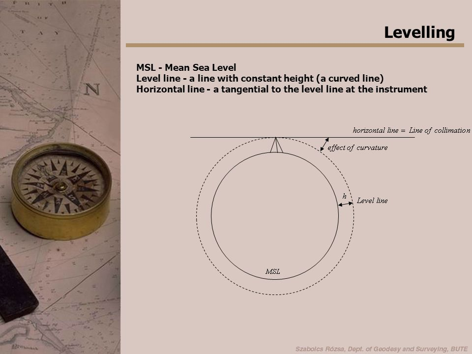 Levelling MSL - Mean Sea Level Level line - a line with constant height (a curved line) Horizontal line - a tangential to the level line at the instru