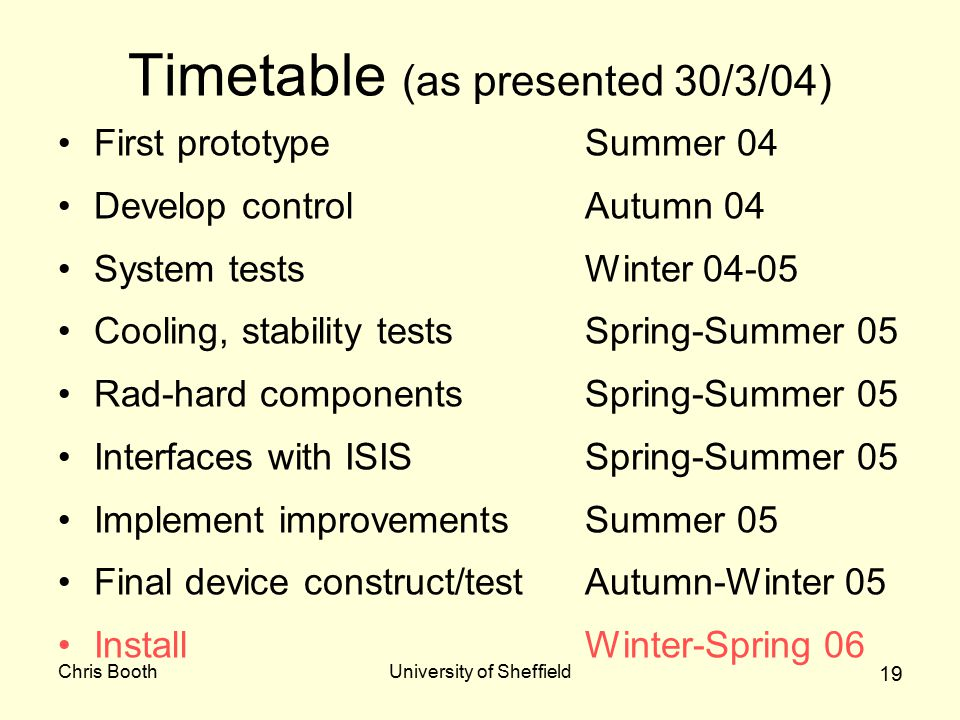 Chris BoothUniversity of Sheffield 19 Timetable (as presented 30/3/04) First prototypeSummer 04 Develop controlAutumn 04 System testsWinter 04-05 Cooling, stability testsSpring-Summer 05 Rad-hard componentsSpring-Summer 05 Interfaces with ISISSpring-Summer 05 Implement improvementsSummer 05 Final device construct/testAutumn-Winter 05 InstallWinter-Spring 06
