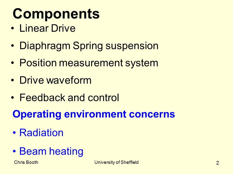 Chris BoothUniversity of Sheffield 2 Components Linear Drive Diaphragm Spring suspension Position measurement system Drive waveform Feedback and control Operating environment concerns Radiation Beam heating
