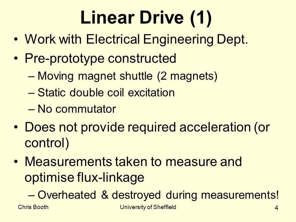 Chris BoothUniversity of Sheffield 5 Linear Drive (2) Multi-phase design in progress –6 coils in 3 circuits –commutator –Design complete end August.