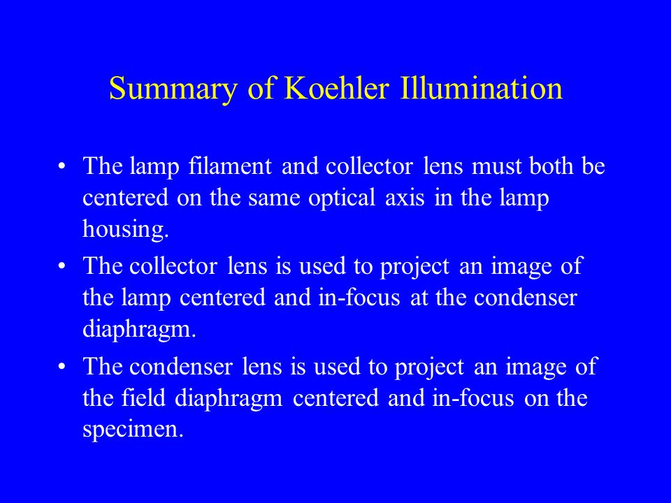 Summary of Koehler Illumination The lamp filament and collector lens must both be centered on the same optical axis in the lamp housing.