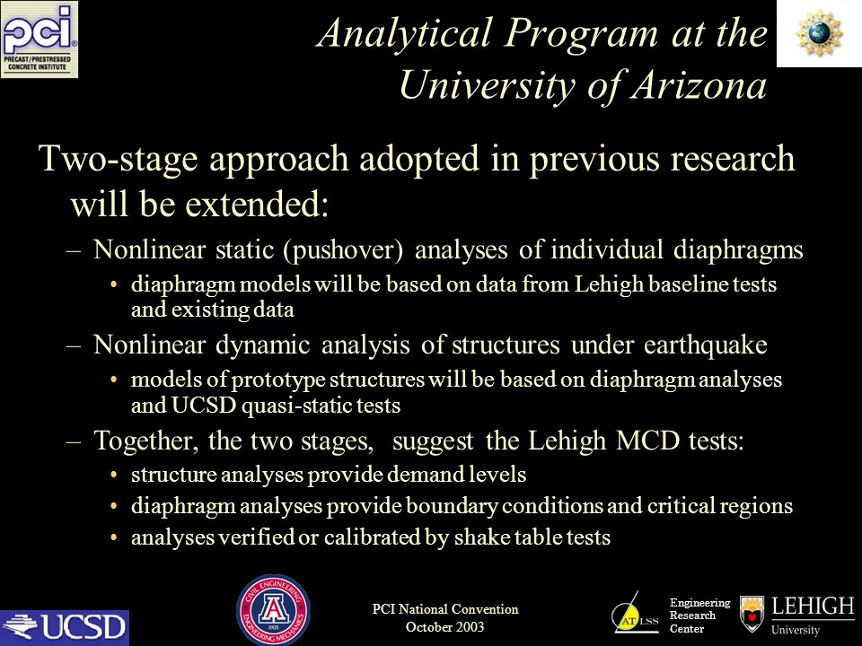 Engineering Research Center PCI National Convention October 2003 Analytical Program at the University of Arizona Two-stage approach adopted in previou
