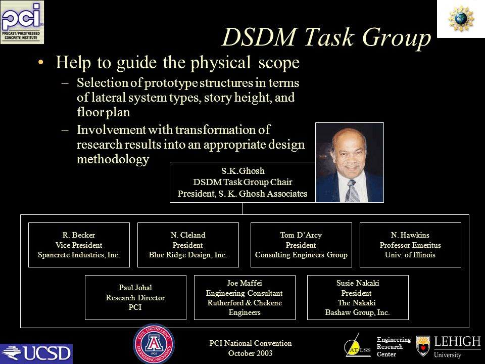 Engineering Research Center PCI National Convention October 2003 DSDM Task Group Help to guide the physical scope –Selection of prototype structures i