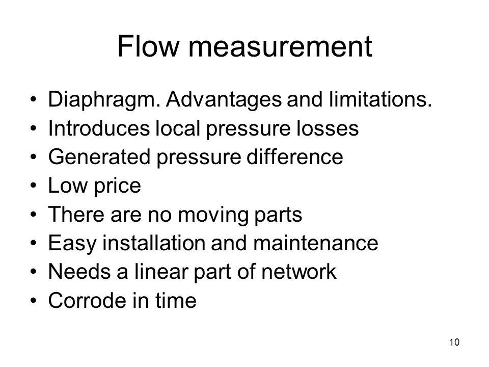 10 Flow measurement Diaphragm. Advantages and limitations.