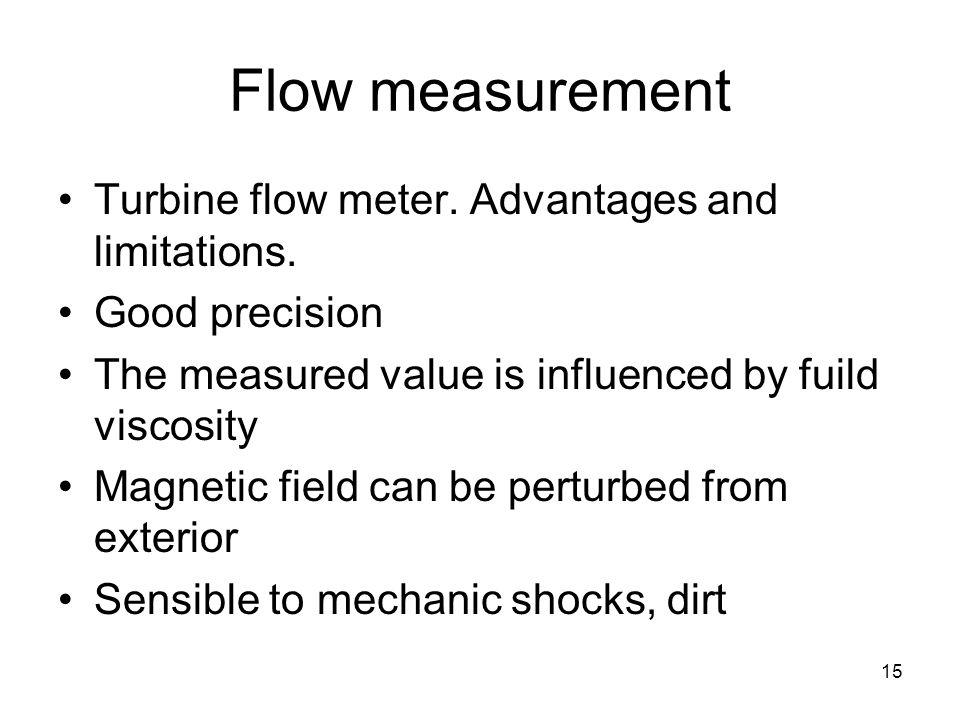 15 Flow measurement Turbine flow meter. Advantages and limitations.