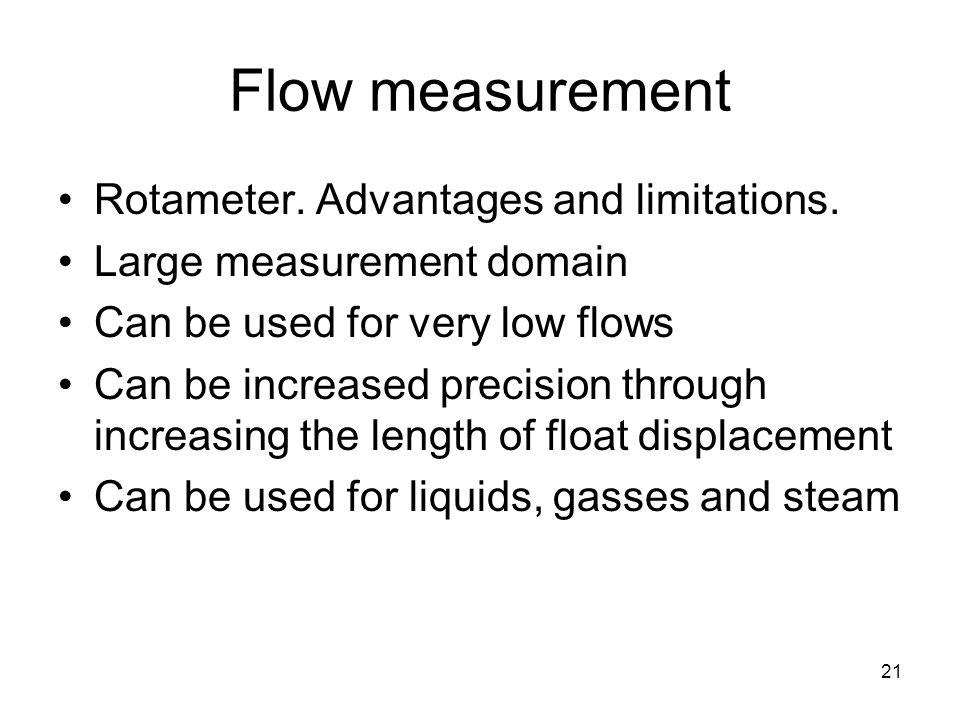 21 Flow measurement Rotameter. Advantages and limitations.