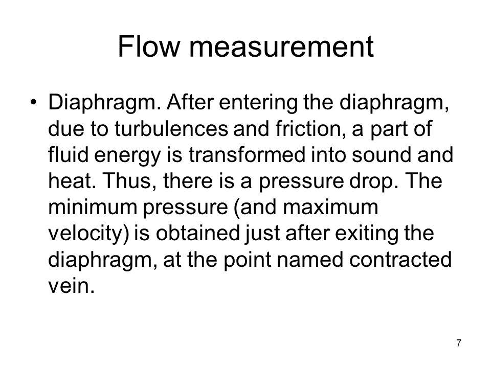 8 Flow measurement Diaphragm.