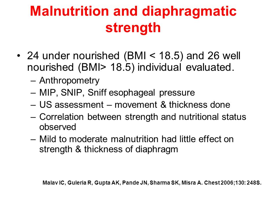 Malnutrition and diaphragmatic strength 24 under nourished (BMI 18.5) individual evaluated.