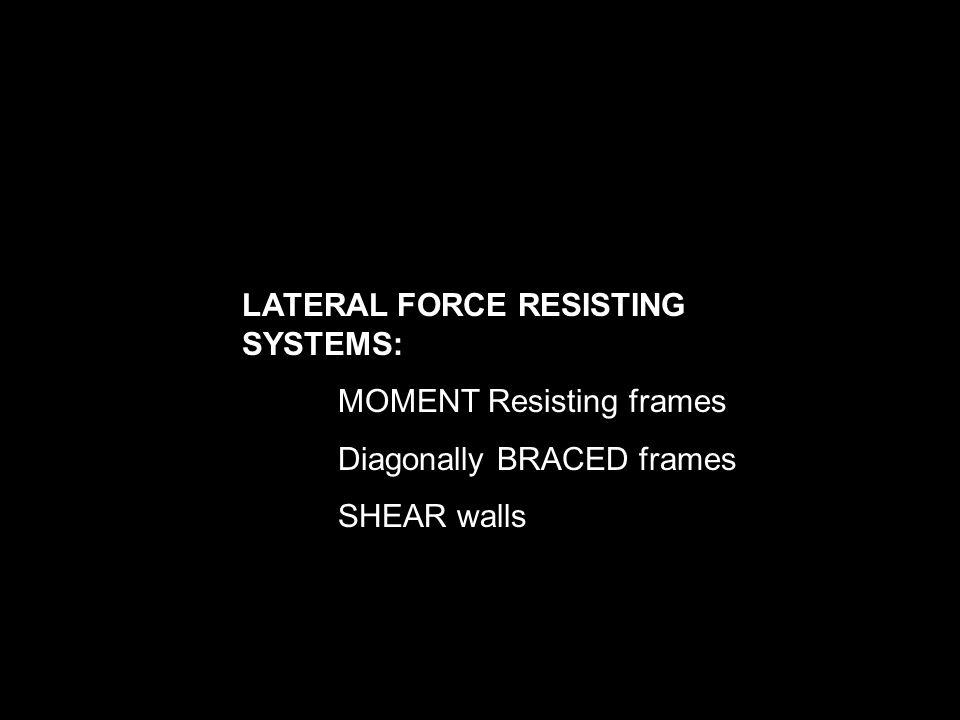 LATERAL FORCE RESISTING SYSTEMS: MOMENT Resisting frames Diagonally BRACED frames SHEAR walls