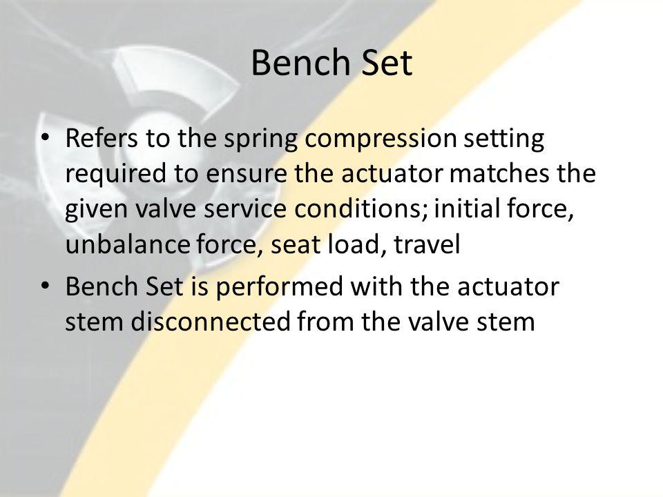 How to Stroke & Bench Set a Valve Procedure: 30MT-9ZZ22 Calibration of Control Valves Procedure: 39DP-9ZZ02 Air Operated Valve Program Procedures: 39DP-9ZZ31 & ZZ33, AOV Diagnostic Testing & Analysis