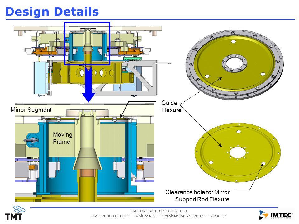TMT.OPT.PRE.07.060.REL01 HPS-280001-0105 – Volume-5 – October 24-25 2007 – Slide 37 Design Details Mirror Segment Moving Frame Guide Flexure Clearance hole for Mirror Support Rod Flexure