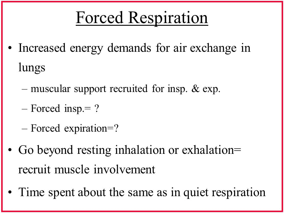 Forced Respiration Increased energy demands for air exchange in lungs –muscular support recruited for insp.