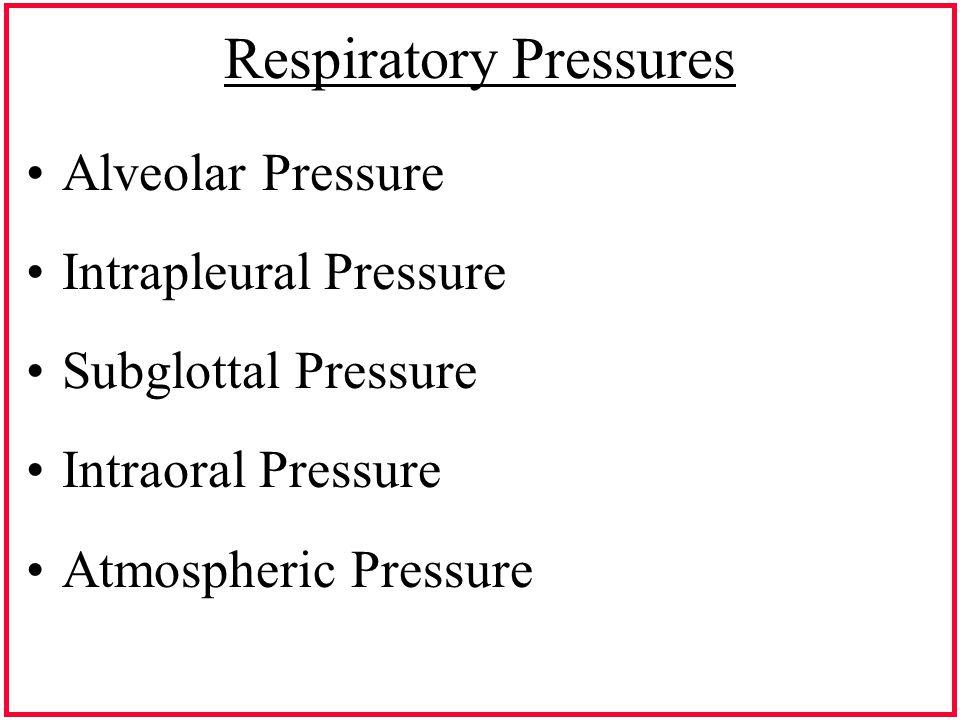 Respiratory Pressures Alveolar Pressure Intrapleural Pressure Subglottal Pressure Intraoral Pressure Atmospheric Pressure