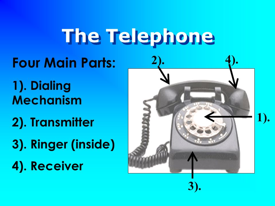 The Telephone Four Main Parts: 1). Dialing Mechanism 2). Transmitter 3). Ringer (inside) 4). Receiver 2). 4). 1). 3).