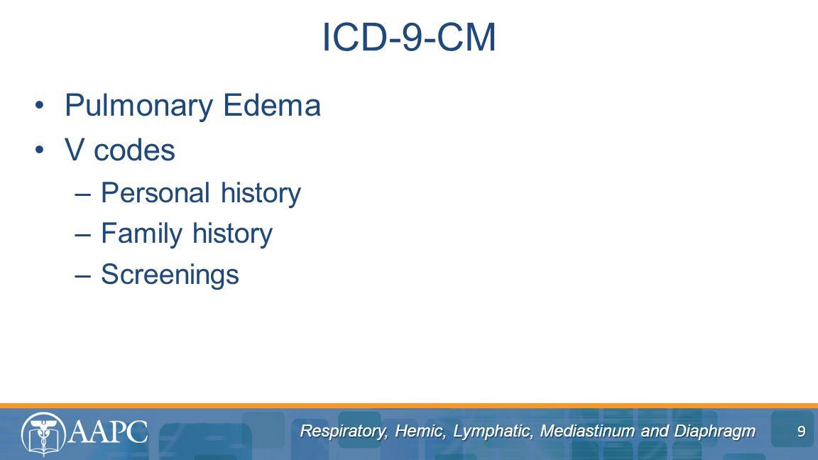 Respiratory, Hemic, Lymphatic, Mediastinum and Diaphragm Pulmonary Edema V codes –Personal history –Family history –Screenings ICD-9-CM 9