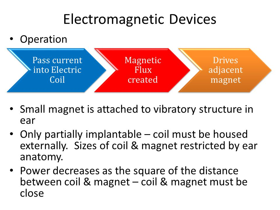 Electromagnetic Devices Operation Small magnet is attached to vibratory structure in ear Only partially implantable – coil must be housed externally.