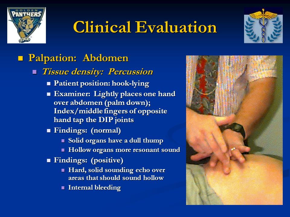 Clinical Evaluation Palpation: Abdomen Palpation: Abdomen Tissue density: Percussion Tissue density: Percussion Patient position: hook-lying Patient position: hook-lying Examiner: Lightly places one hand over abdomen (palm down); Index/middle fingers of opposite hand tap the DIP joints Examiner: Lightly places one hand over abdomen (palm down); Index/middle fingers of opposite hand tap the DIP joints Findings: (normal) Findings: (normal) Solid organs have a dull thump Solid organs have a dull thump Hollow organs more resonant sound Hollow organs more resonant sound Findings: (positive) Findings: (positive) Hard, solid sounding echo over areas that should sound hollow Hard, solid sounding echo over areas that should sound hollow Internal bleeding Internal bleeding