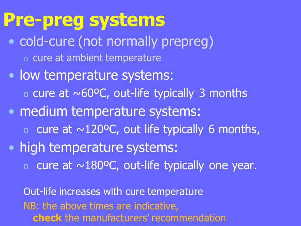 Pre-preg systems cold-cure (not normally prepreg) o cure at ambient temperature low temperature systems: o cure at ~60ºC, out-life typically 3 months