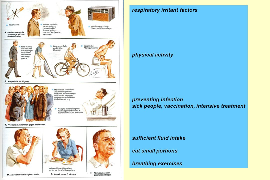 respiratory irritant factors physical activity preventing infection sick people, vaccination, intensive treatment sufficient fluid intake eat small portions breathing exercises