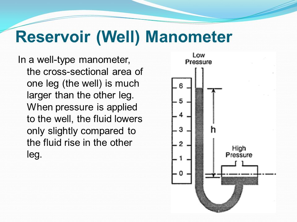 Reservoir (Well) Manometer In a well-type manometer, the cross-sectional area of one leg (the well) is much larger than the other leg. When pressure i