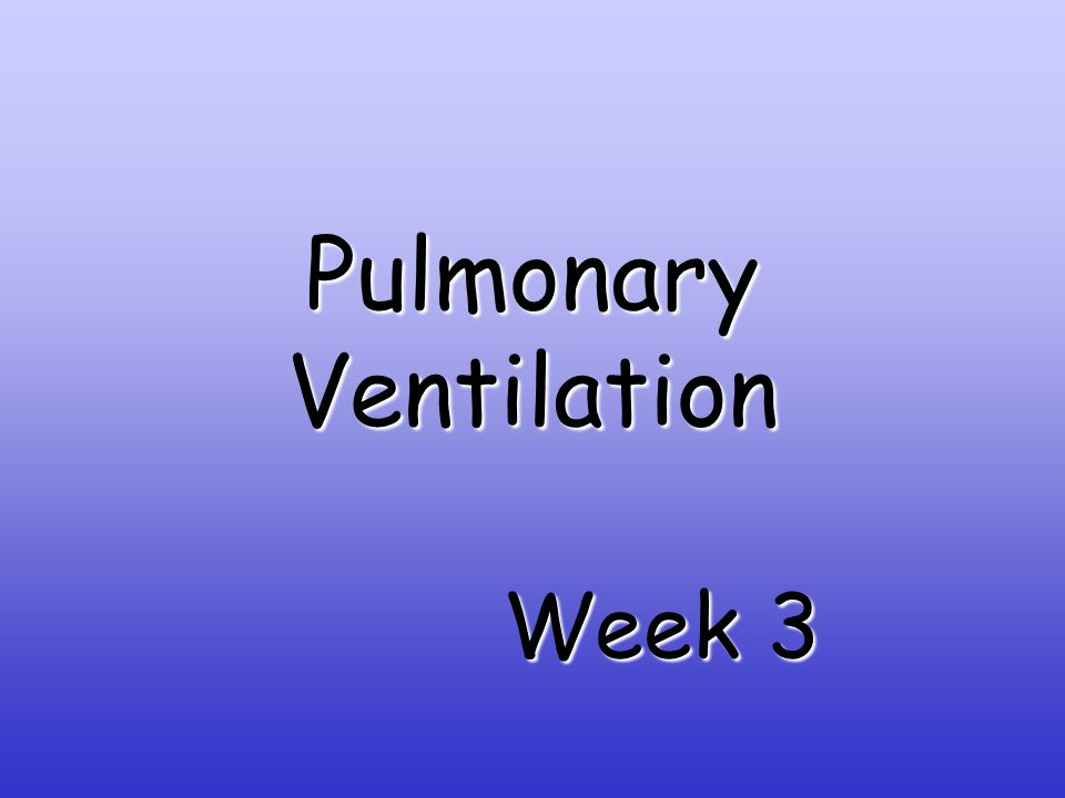 Pulmonary Ventilation Week 3