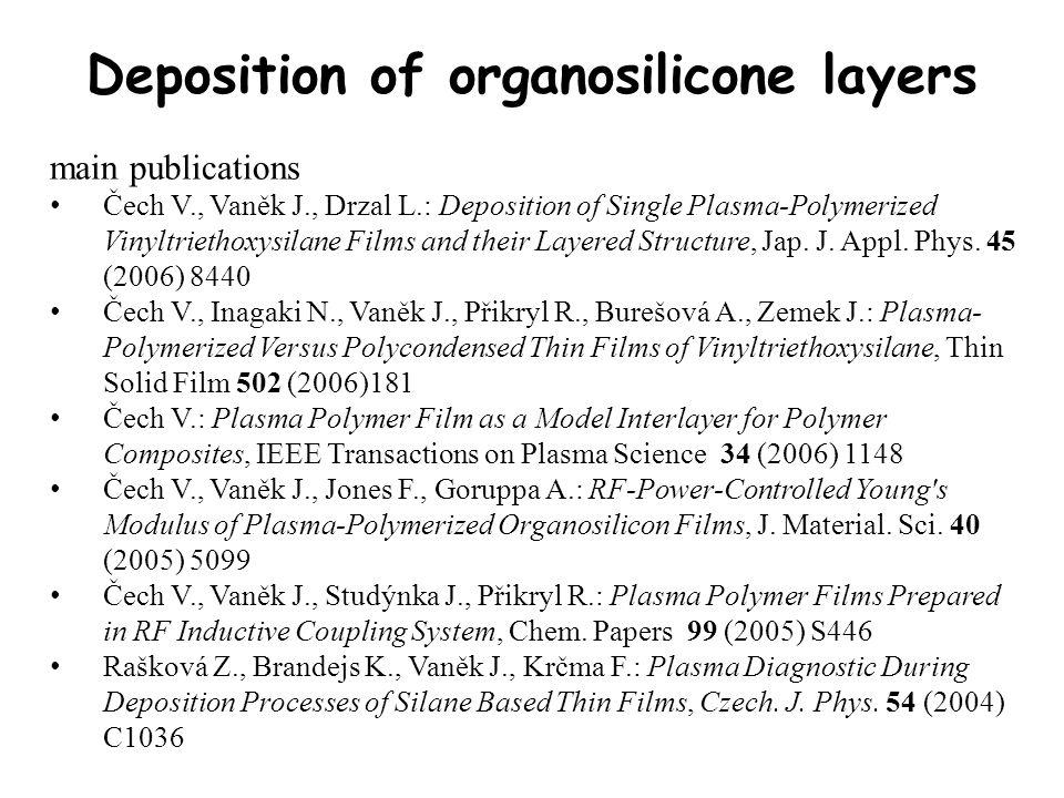 Deposition of organosilicone layers main publications Čech V., Vaněk J., Drzal L.: Deposition of Single Plasma-Polymerized Vinyltriethoxysilane Films and their Layered Structure, Jap.