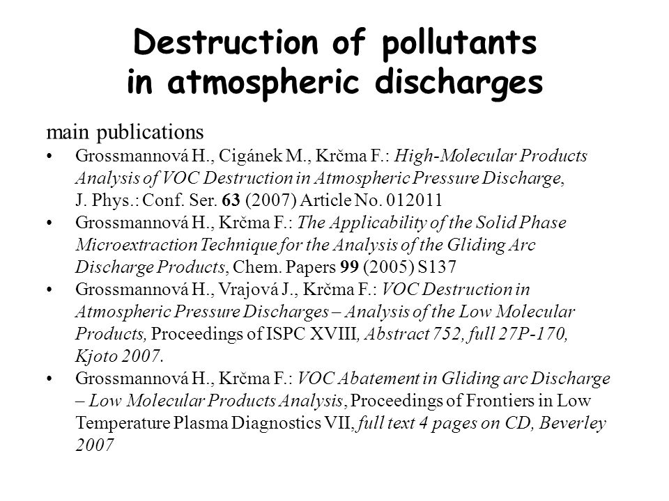main publications Grossmannová H., Cigánek M., Krčma F.: High-Molecular Products Analysis of VOC Destruction in Atmospheric Pressure Discharge, J.