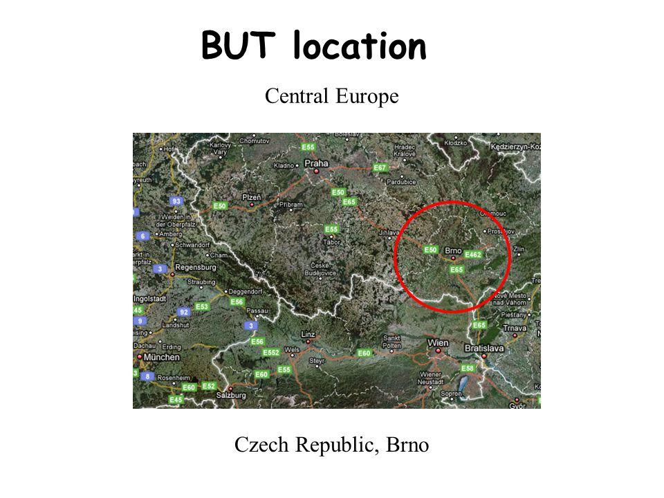 BUT location Central Europe Czech Republic, Brno