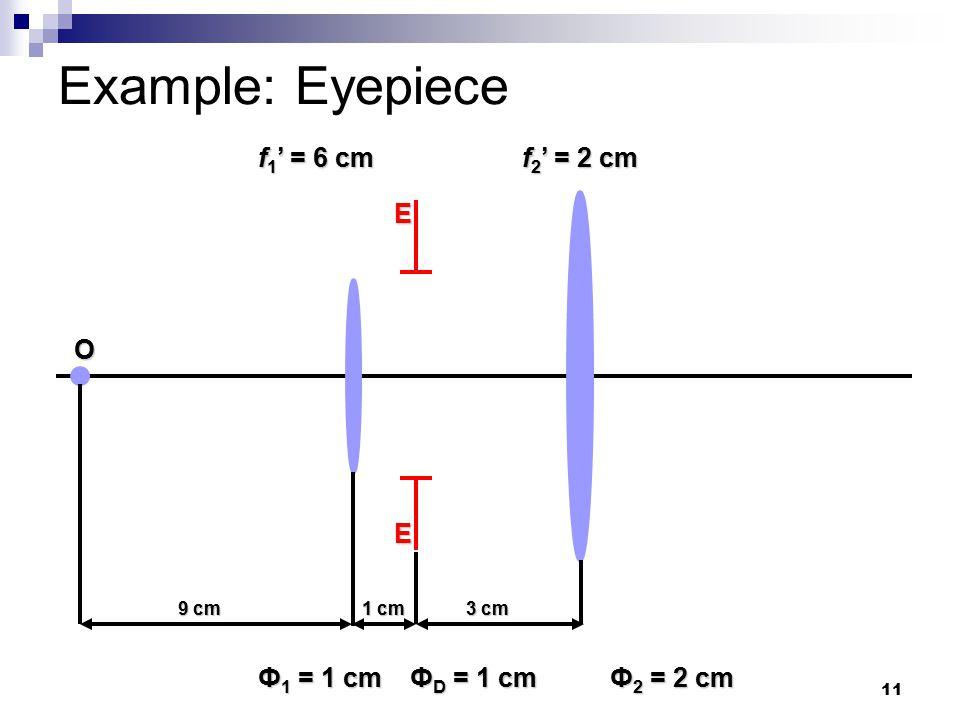 11 Example: Eyepiece E E 9 cm Ф 1 = 1 cm Ф 2 = 2 cm f 1 ' = 6 cm f 2 ' = 2 cm Ф D = 1 cm 1 cm 3 cm O