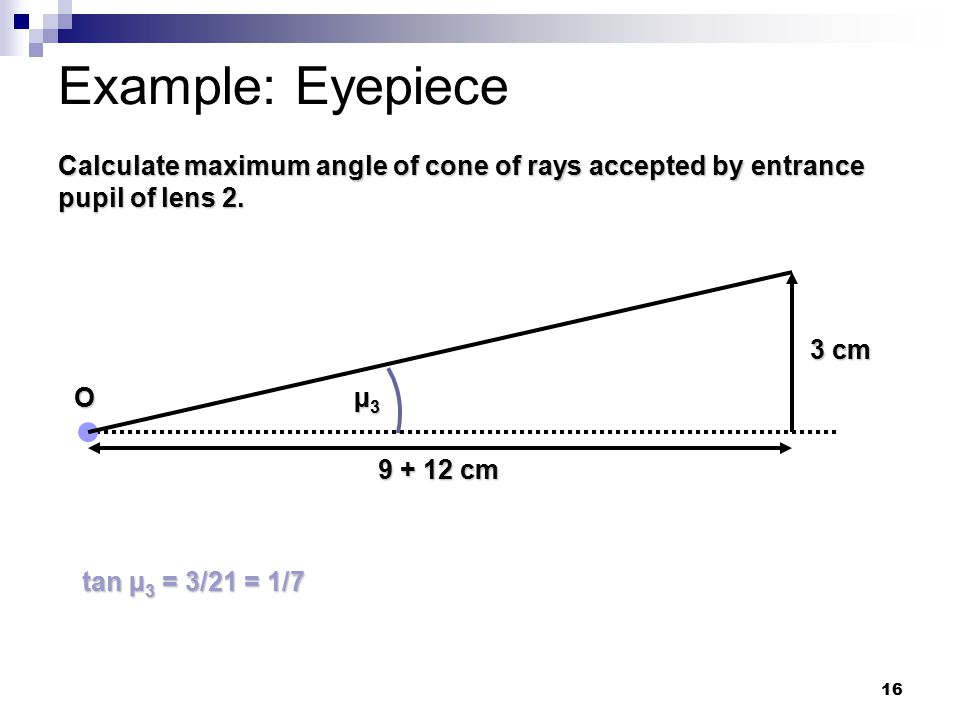 16 Example: Eyepiece Calculate maximum angle of cone of rays accepted by entrance pupil of lens 2.