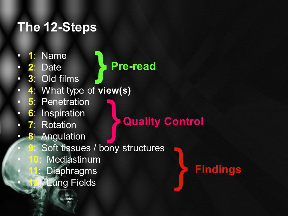 The 12-Steps 1: Name 2: Date 3: Old films 4: What type of view(s) 5: Penetration 6: Inspiration 7: Rotation 8: Angulation 9: Soft tissues / bony struc