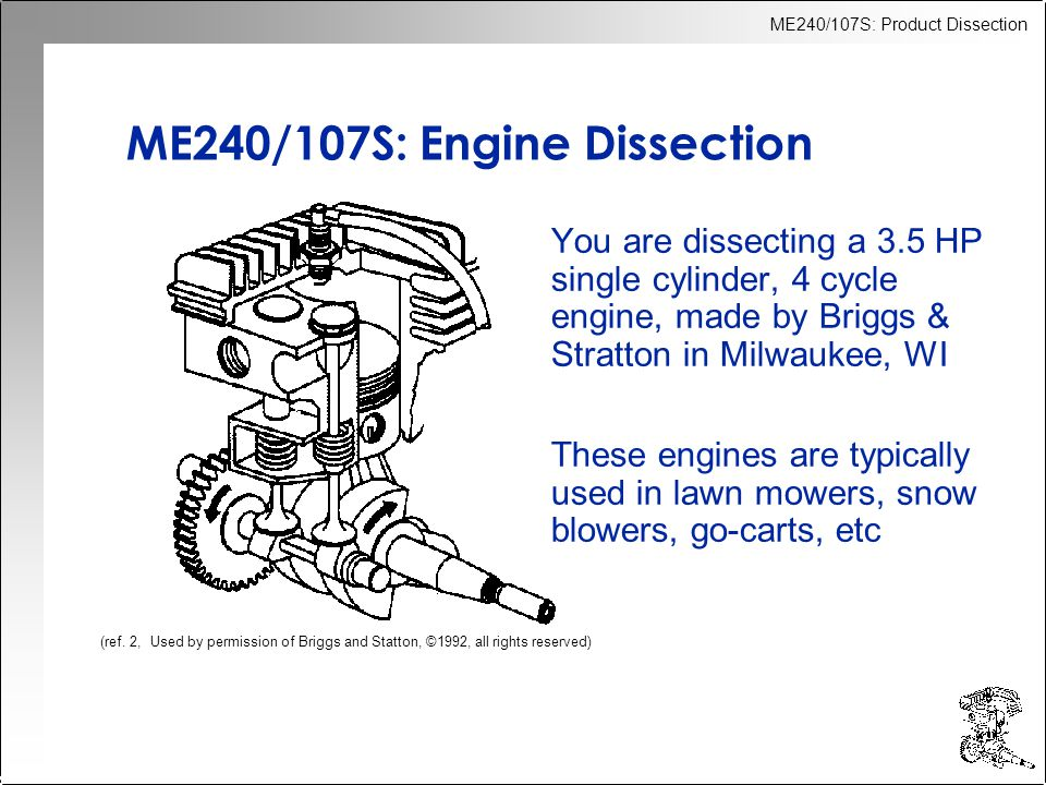 ME240/107S: Product Dissection ME240/107S: Engine Dissection You are dissecting a 3.5 HP single cylinder, 4 cycle engine, made by Briggs & Stratton in Milwaukee, WI These engines are typically used in lawn mowers, snow blowers, go-carts, etc (ref.