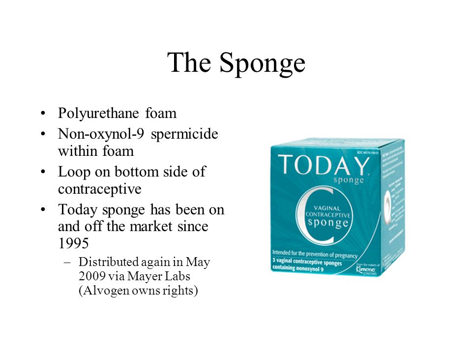 The Sponge Polyurethane foam Non-oxynol-9 spermicide within foam Loop on bottom side of contraceptive Today sponge has been on and off the market since 1995 –Distributed again in May 2009 via Mayer Labs (Alvogen owns rights)